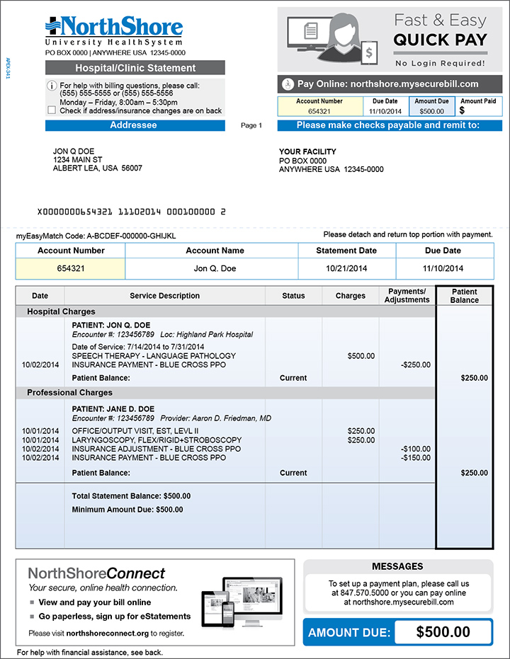 Sample Billing Statement