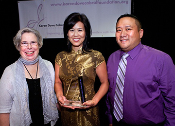 Kathleen Dove (left) and Ed Cabral (right) with honoree Dr. Leslie Mendoza Temple