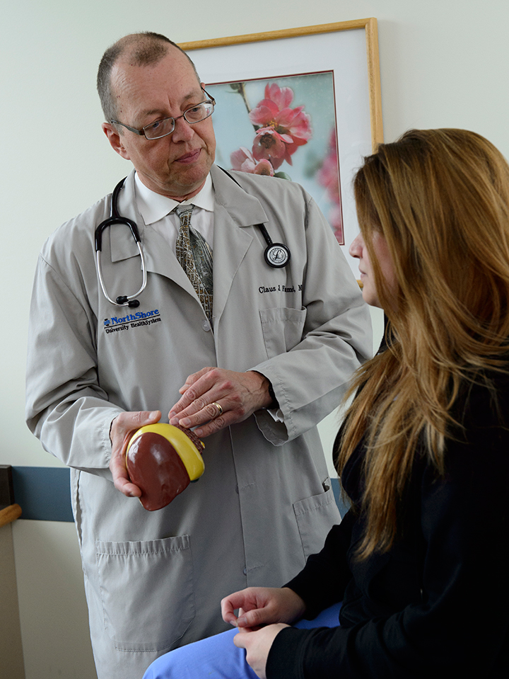 Hepatologist Dr. Claus Fimmel offers his patient treatment options for liver disease.