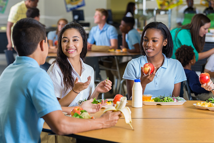 Kids eating a healthy school lunch