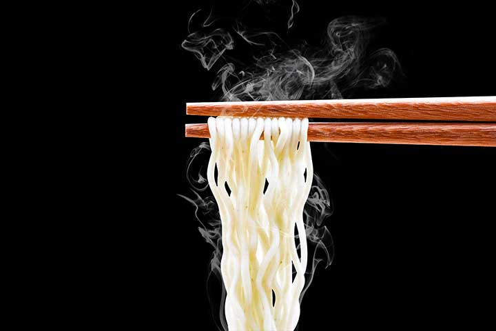 Ramen on chopsticks