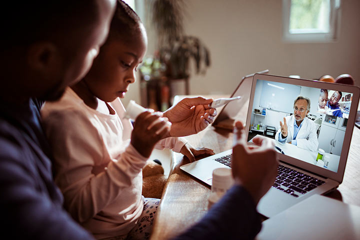 A family using telehealth