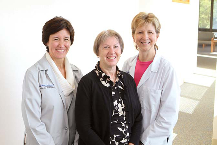 Breast surgeon Dr. Katharine Yao with patient Sue Brenner and nursenavigator Beth Weigel